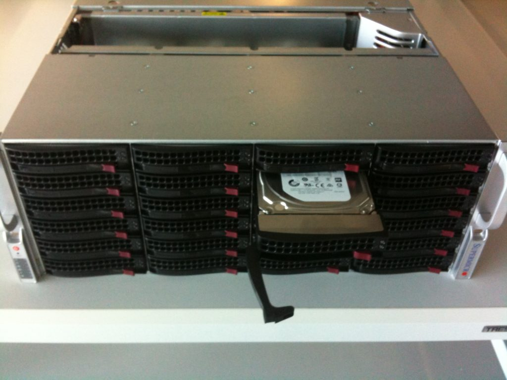 The SuperMicro housing for the 24 discs